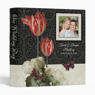 Wedding Binder - Black n Cream Red Tulip Damask