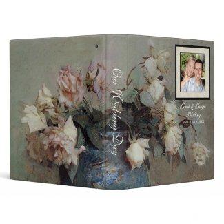 Wedding Binder - Impressionist Cream Pink Roses binder