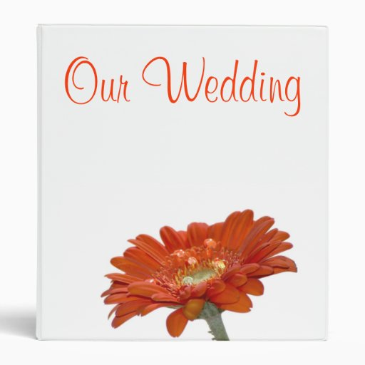 Wedding Binder - Orange Daisy Gerbera Flower