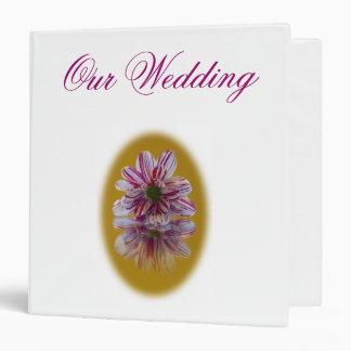 Wedding Binder - Striped Daisy Gerbra pink yellow