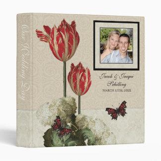 Wedding Binder - Tan n Cream Red Tulip Damask