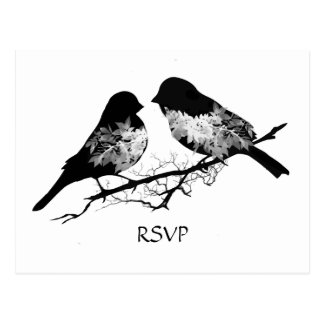 Wedding Birds Black White  RSVP Postcard