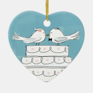 Wedding Birds Ceramic Ornament