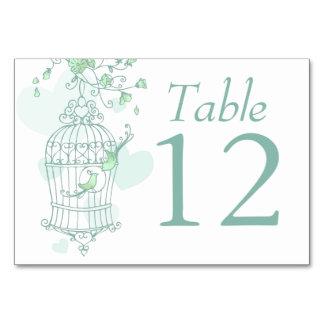 Wedding birds open birdcage green table numbers card