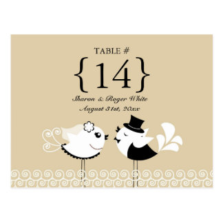 Wedding Birds Table Number Seats Cards