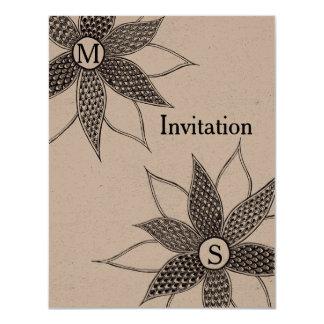 Wedding/Birthday Zentangle Flower Invitation Card