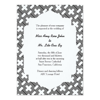 Wedding Black and White Cross  Art Deco Geometric Custom Invitations