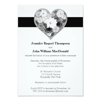 """Wedding   Black and White   Floral   Heart 5"""" X 7"""" Invitation Card"""