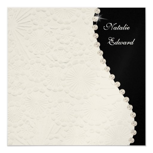 Wedding Black and White Vintage Pattern Invite