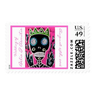 Wedding - Black King Sugar Skull Angel Date Postage Stamps