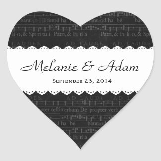 Wedding Black Musical Pattern Scalloped Ribbon V14 Heart Sticker