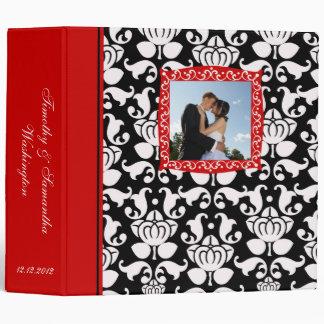 Wedding black red damask photo avery binder