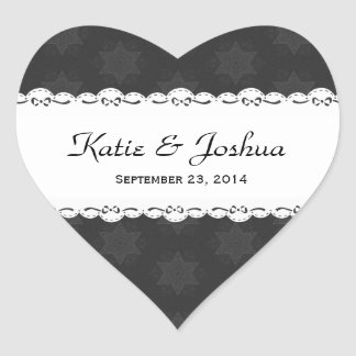 Wedding Black Stars White Scalloped Ribbon V17A Heart Sticker