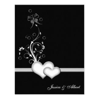 Wedding black white hearts invitation custom invitation