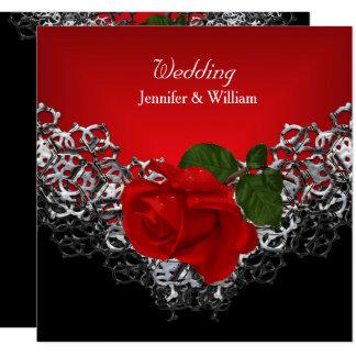 Wedding Black White Silver Deep RED Rose Card