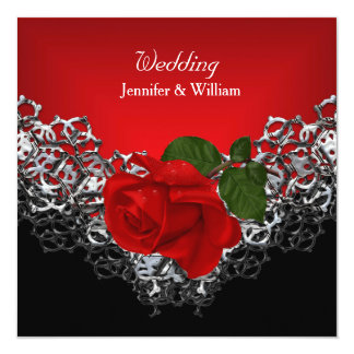 Wedding Black White Silver Deep RED Rose Card