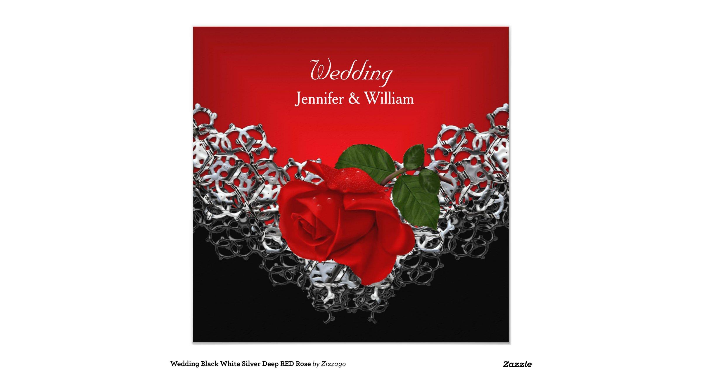 Black Red Silver White Rose Wedding Invitations