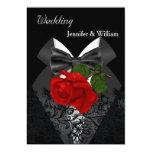 Wedding Black White Tuxedo Deep RED Rose 2 Card