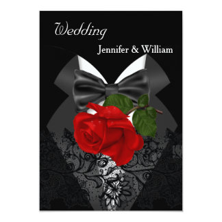 "Wedding Black White Tuxedo Deep RED Rose 2 5"" X 7"" Invitation Card"