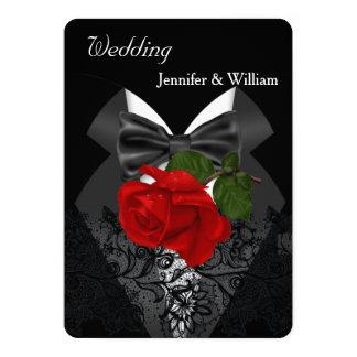 Wedding Black White Tuxedo Deep RED Rose 2c Card