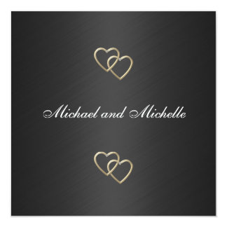 Wedding Black with Gold Metal Trims 2 Card