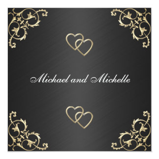 Wedding Black with Gold Metal Trims Card