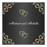 Wedding Black with Gold Metal Trims Personalized Invites