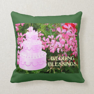 Wedding blessings, cake and flowers pillow