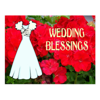 Wedding blessings, dress and flowers postcard