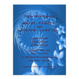 Wedding - Blue Abstract Flowers Card