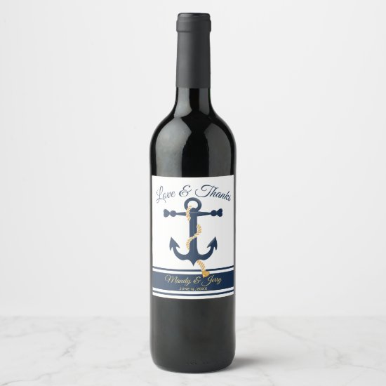 Wedding blue anchor personalized wine label