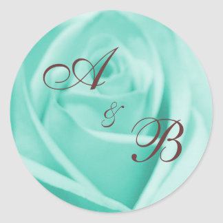 Wedding: Blue & Chocolate ... - Customized Classic Round Sticker