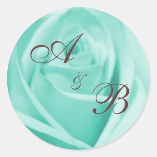 Wedding: Blue & Chocolate ... - Customized Classic Round Sticker