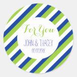 wedding blue cobalt green stripes round stickers