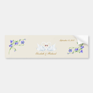 Wedding. Bluebells and swans Bumper Sticker