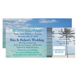 Wedding Boarding Pass Ticket Beach Destination Card