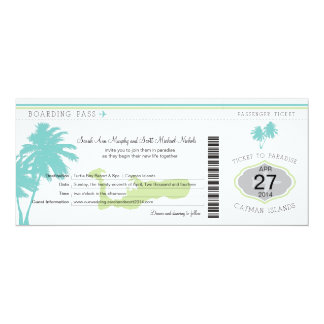 Wedding Boarding Pass to Cayman Islands 4x9.25 Paper Invitation Card