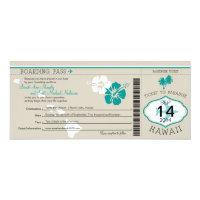 Wedding Boarding Pass to Hawaii 4x9.25 Paper Invitation Card (<em>$2.57</em>)