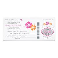 Wedding Boarding Pass to Hawaii 4x9.25 Paper Invitation Card (<em>$3.25</em>)