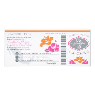 Wedding Boarding Pass to Los Cabos Mexico 4x9.25 Paper Invitation Card