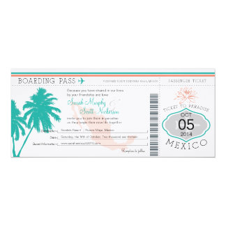 Wedding Boarding Pass to Mexico 4x9.25 Paper Invitation Card