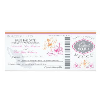 Wedding Boarding Pass to Mexico Card