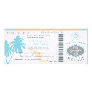 "Wedding Boarding Pass to Mexico 4"" X 9.25"" Invitation Card"
