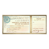 wedding boarding pass-vintage tickets with RSVP 4x9.25 Paper Invitation Card (<em>$2.57</em>)