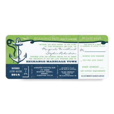 Beach Themed wedding boarding pass-vintage tickets with RSVP Card