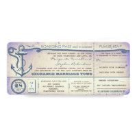 wedding boarding pass-vintage tickets with RSVP Card