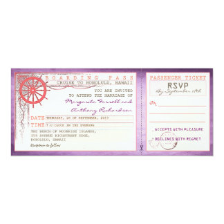wedding boarding pass-vintage tickets with RSVP 4x9.25 Paper Invitation Card
