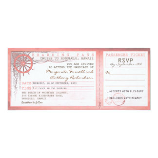 wedding boarding pass-vintage tickets with RSVP Personalized Invitations