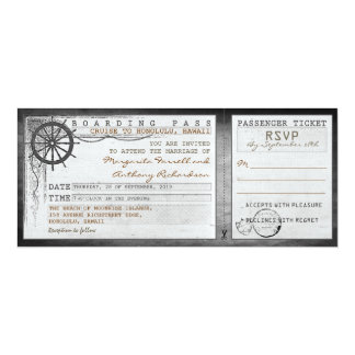 wedding boarding pass-vintage tickets with RSVP Announcement