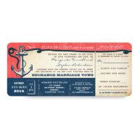 wedding boarding pass-vintage tickets with RSVP 4x9.25 Paper Invitation Card (<em>$2.72</em>)
